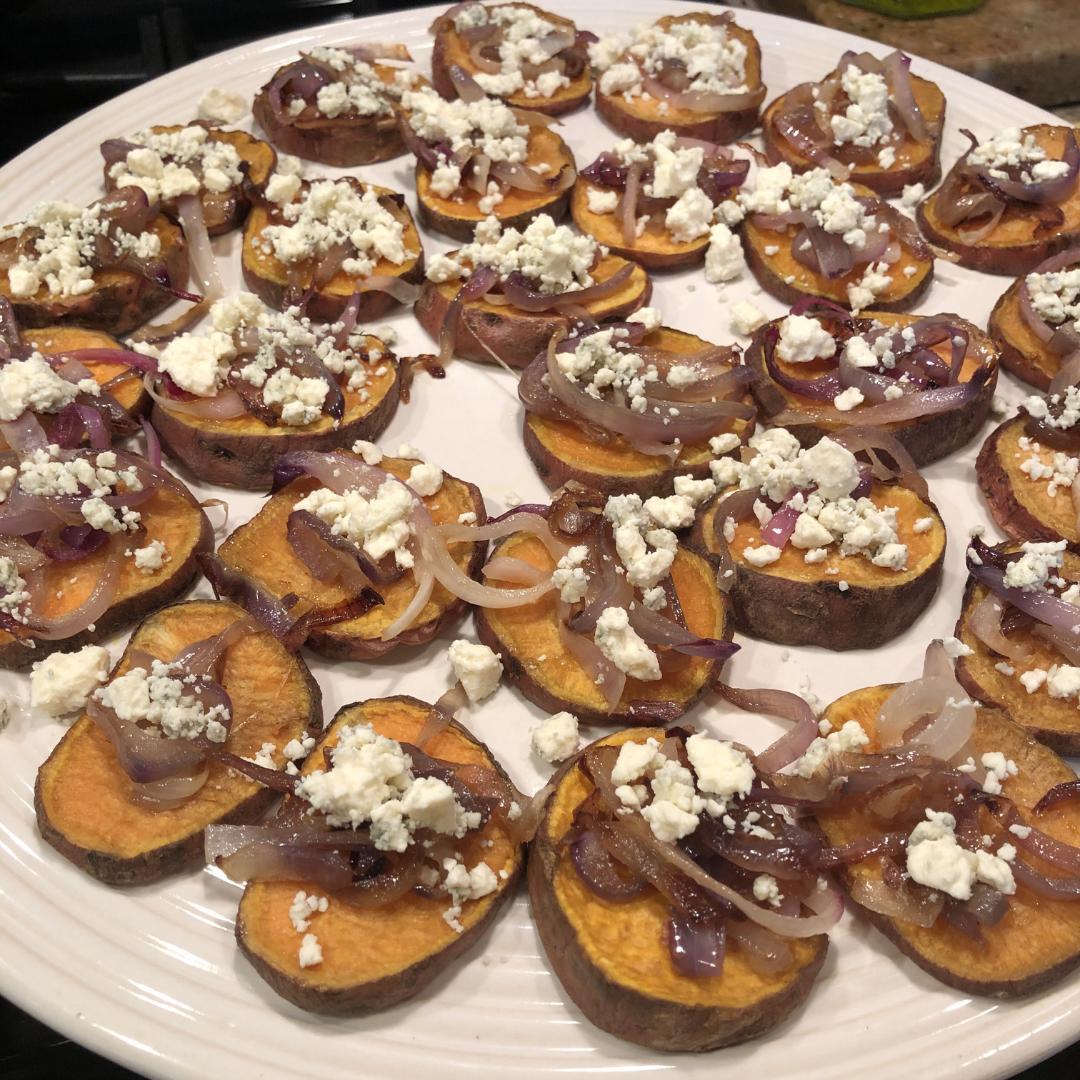 Serving plate of Sweet Potato Bruschetta
