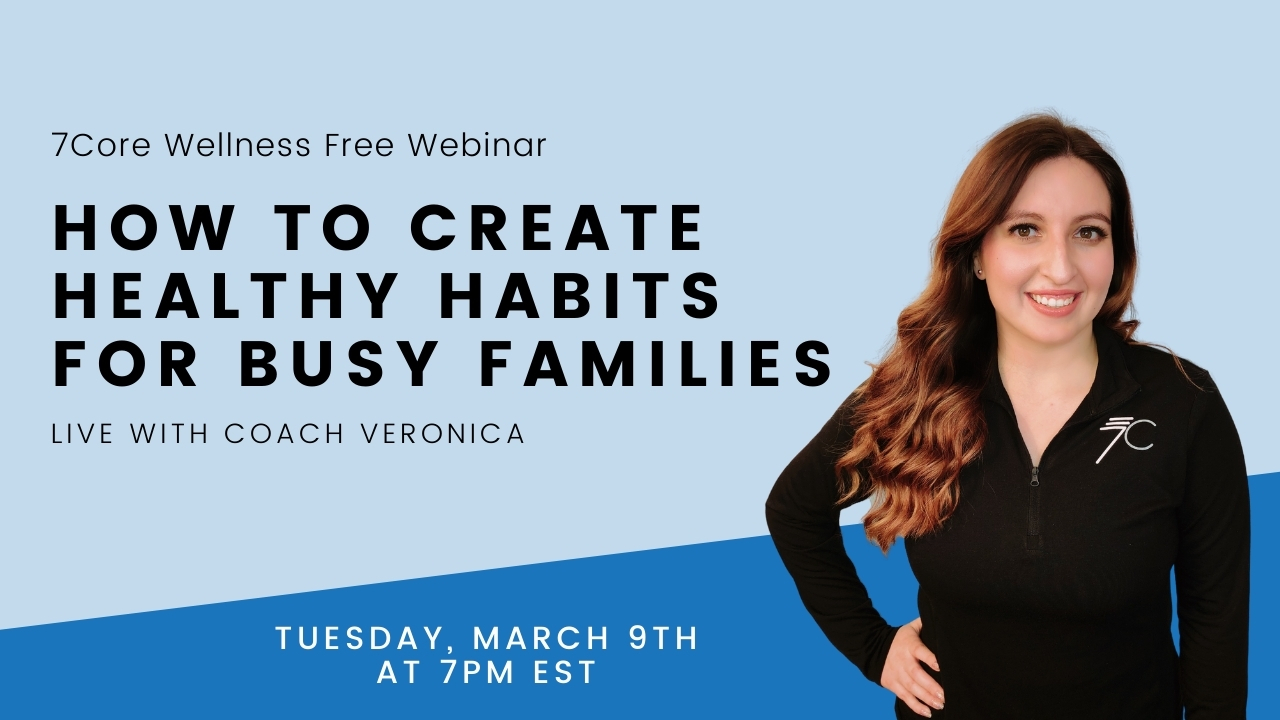 wellness coach promoting a webinar to create healthy habits for busy families