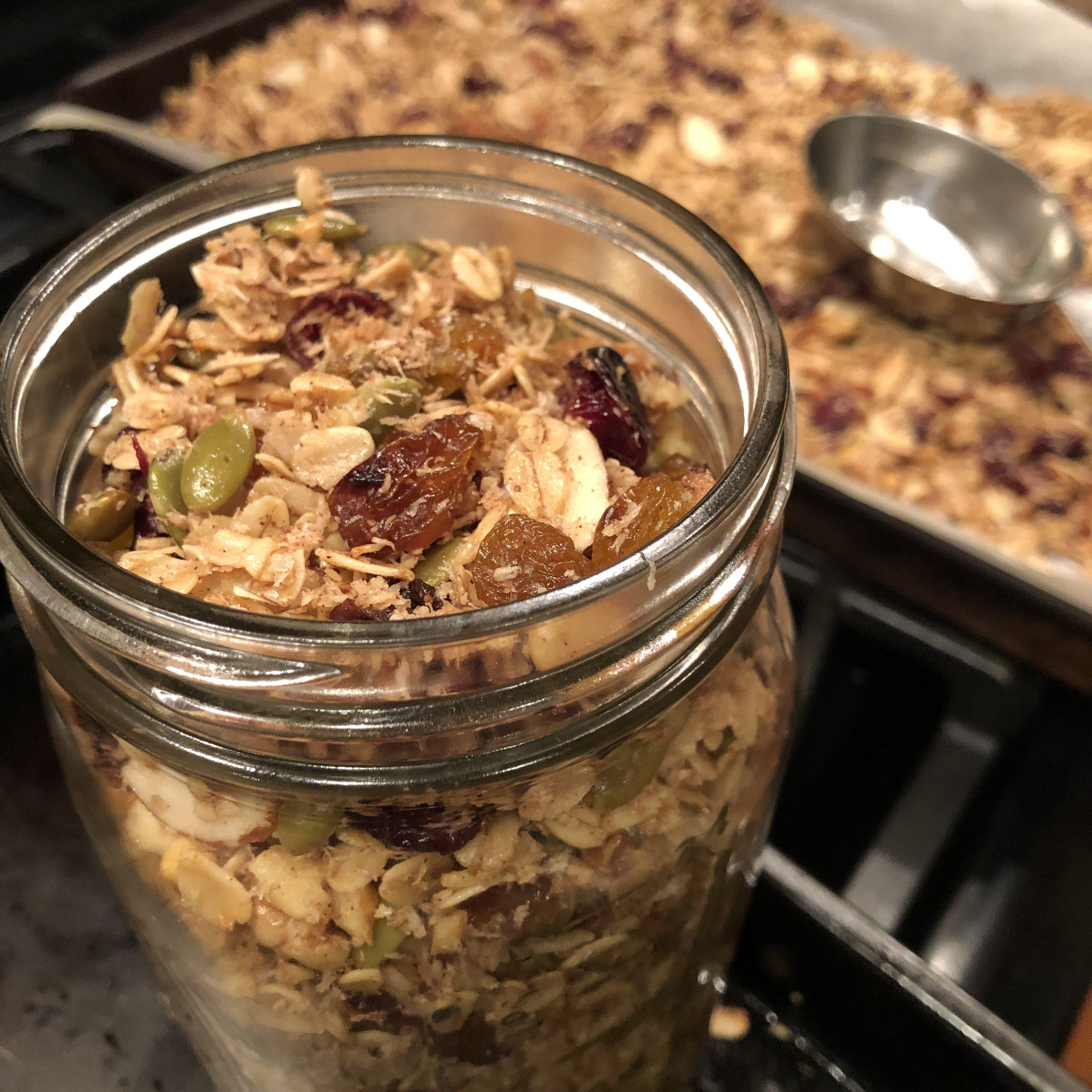 Mason jar full of homemade granola