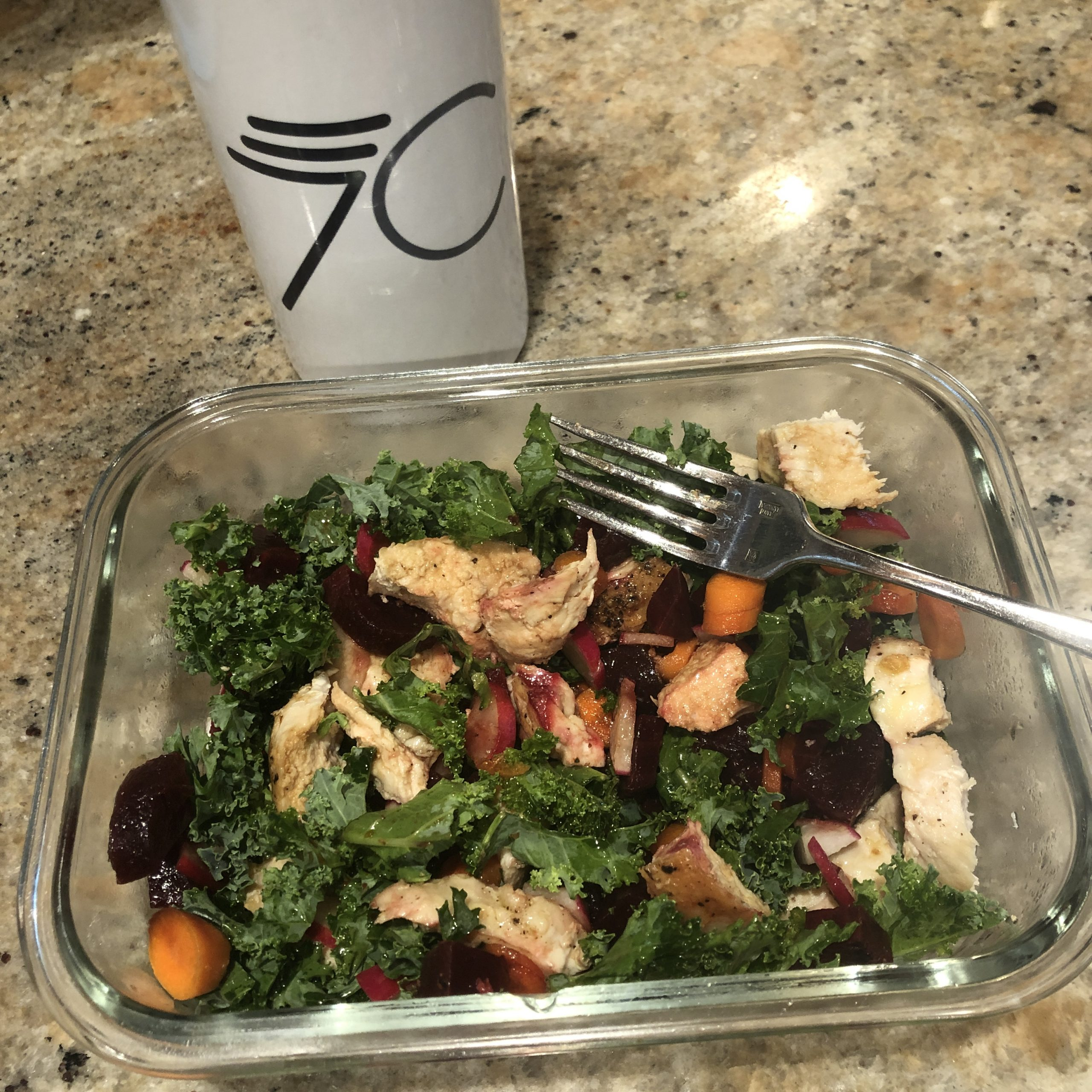 Salad with beets, carrots, and chicken