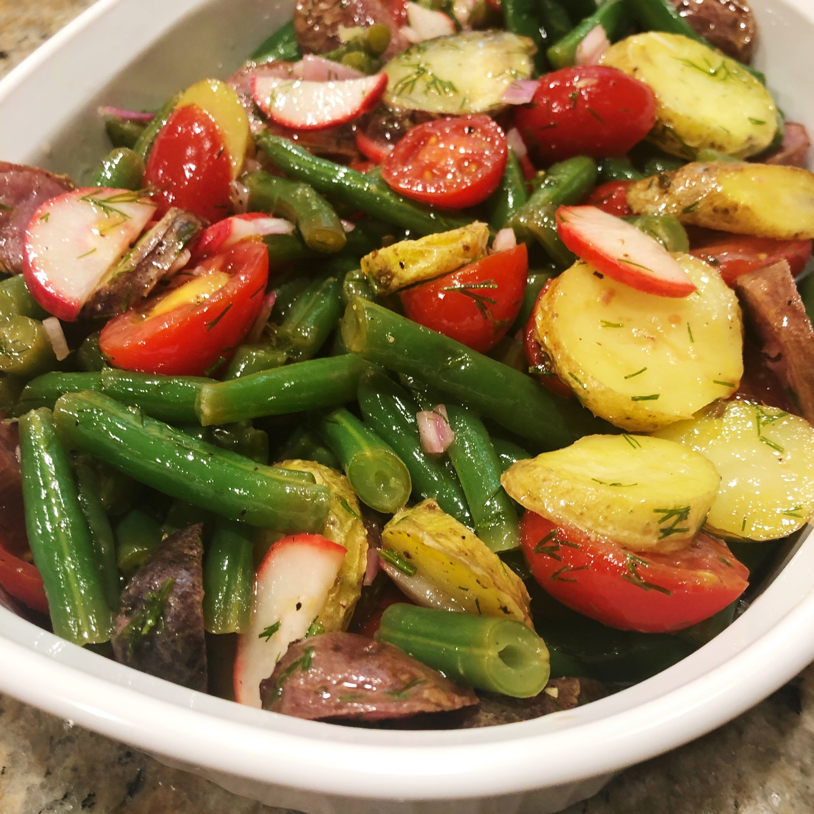 bowl of Dilly Green Bean and Roasted Potato Salad